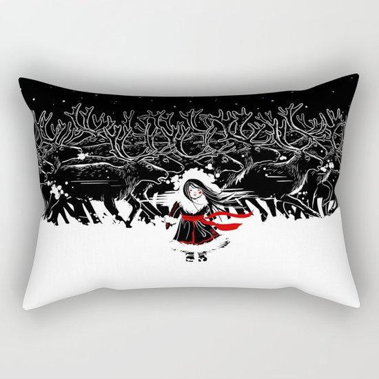 Night of Reindeer Rectangular Pillow