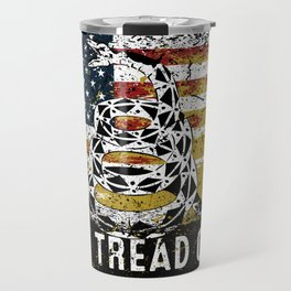 Don't Tread on Me Military USA American Flag Rattlesnake Distressed Design American Revolution Travel Mug
