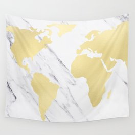 World Map Marble Gold Rush Wall Tapestry