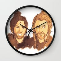 kili Wall Clocks featuring Fili & Kili Manbuns by rdjpwns