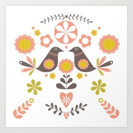 Scandinavian Folk Bird Print  Art Print
