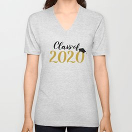 Class of 2020 lettering with graduation hat. Congratulations to graduates.  Unisex V-Neck