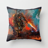 iron man Throw Pillows featuring iron man by ururuty