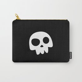 Skull Head logo with Three Teeth | Bones, white, pirates, symbolism, mortality, death, Halloween Carry-All Pouch