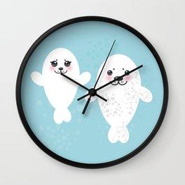 set Funny white fur seal pups, cute winking seals with pink cheeks and big eyes. Kawaii animal Wall Clock