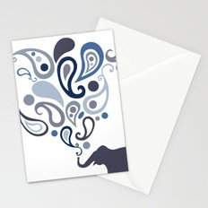 Multi-Blue Paisley Elephant Pattern Design Stationery Cards