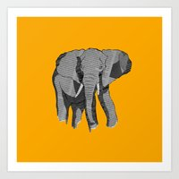 newspaper Art Prints featuring Newspaper Elephant by Doolin