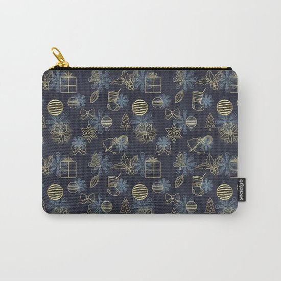 Christmas Golden pattern on dark blue background Carry-All Pouch