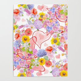 seamless  pattern with flowers and hearts Poster