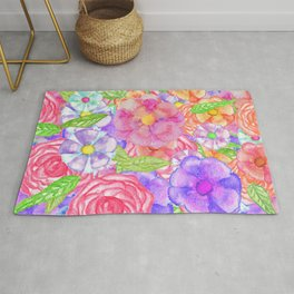 Pretty Hand Painted Watercolor Floral Collage Rug