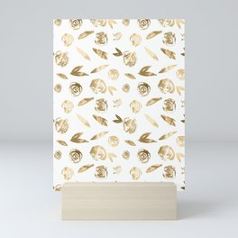 Gold Roses Rosette Pattern Golden on White Mini Art Print