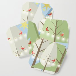 Holiday Winter Scene with Red Bird Santas and Glowing Lights in a Christmas Tree Forest Coaster