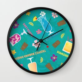 Hilton Hawaiian Village Tropical Mixed Drinks Toss Wall Clock