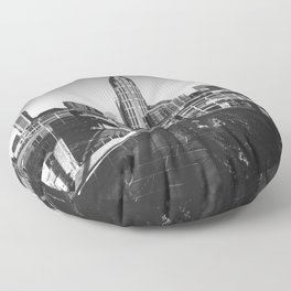 Nashville Downtown in Black and white Floor Pillow