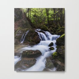 Magical waterfall in gorge Hell Metal Print