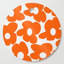 Orange Retro Flowers White Background #decor #society6 #buyart Cutting Board