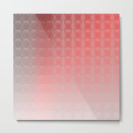 Light to Dark Salmon Red Scale Ombre Overlapping Circle Gradient Metal Print