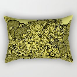 Squirrels Zentangle Drawing Yellow Rectangular Pillow