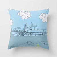 zissou Throw Pillows featuring Zissou Boat by Jarom Ward