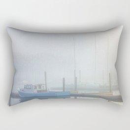 Blue Boat in Fog Rectangular Pillow