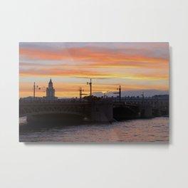 Sunset over the Neva River Metal Print