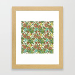 Garden Charm 10:  vintage retro butterfly shabby pattern yellow and blue Framed Art Print