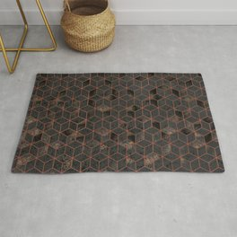 Copper Gold and Black Hexagons Geometric Pattern Rug
