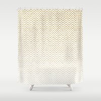gold glitter Shower Curtains featuring Gold Glitter Ombre Chevrons by Doucette Designs