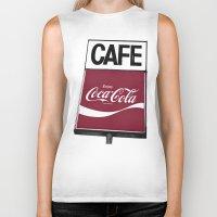 coca cola Biker Tanks featuring Coca-Cola Cafe by Vorona Photography