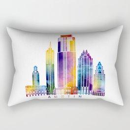 Austin skyline landmarks in watercolor Rectangular Pillow