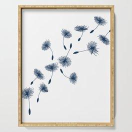 Wispy Blue Dandelion Seeds Blowing in the Breeze Serving Tray