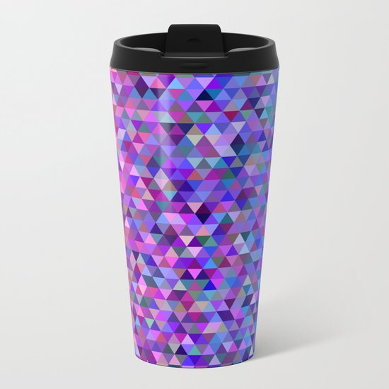 Pink and blue triangles Metal Travel Mug