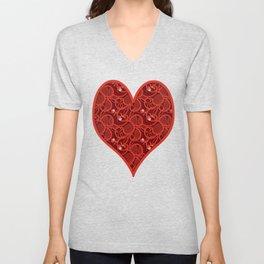 Cherry Tomato Hearts Unisex V-Neck