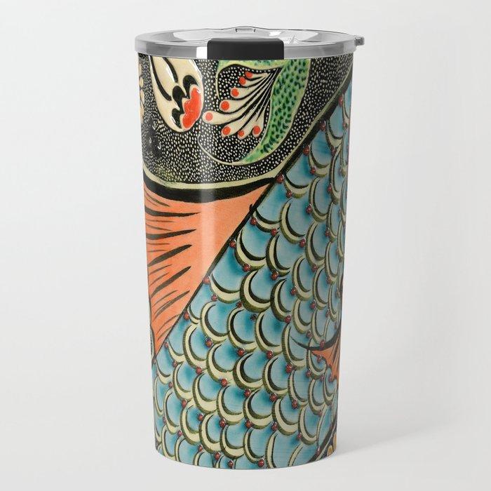 bohemian folk art orange aqua blue japanese good luck koi fish Travel Mug