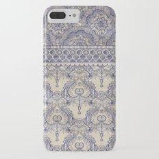 Vintage Wallpaper - hand drawn patterns in navy blue & cream iPhone 7 Plus Slim Case