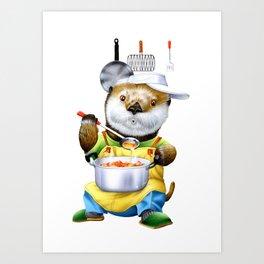 A sea otter cooking Art Print