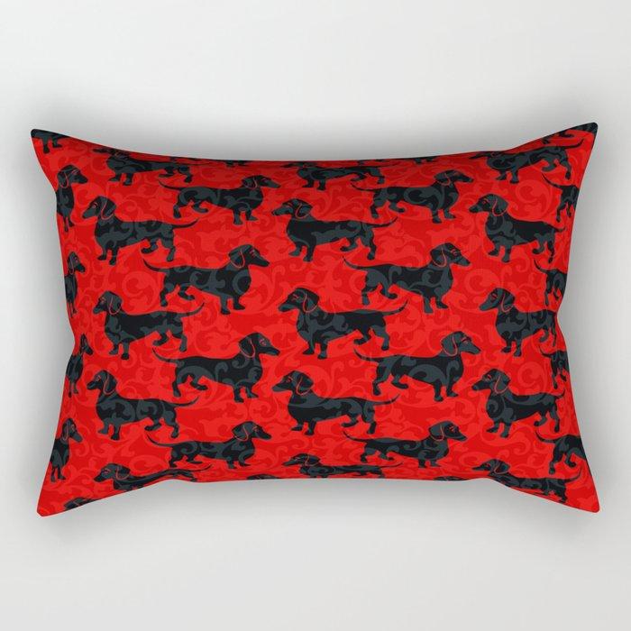 Christmas Dachshunds Rectangular Pillow