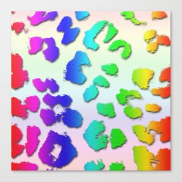 Rainbow Leopard Spots & Pastel Background Canvas Print