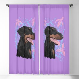 Happy doberman dog - Lila Blackout Curtain