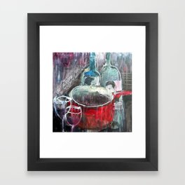 I tried cooking with wine but after 3 glasses I forgot why I was in the kitchen Framed Art Print