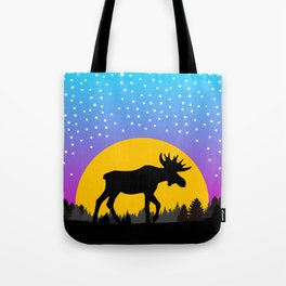 Moose Moon Light Pink and Light Blue Tote Bag