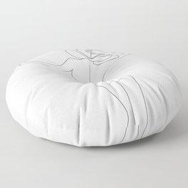 Minimal Line Art Flower Woman Floor Pillow
