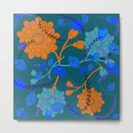 Flying Flowers in Turquoise Metal Print