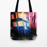 dr who Tote Bags featuring dr who by shannon's art space