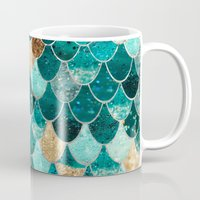 green Mugs featuring REALLY MERMAID by Monika Strigel