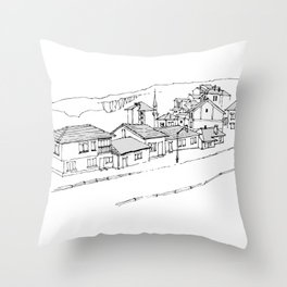 town in the mountains Throw Pillow