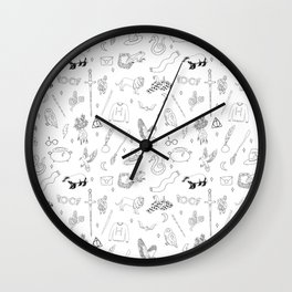 Magic School - sword, broom, houses, lion, badger, cauldron, witch, wizard, black and white, Wall Clock