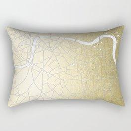 Gold on White London Street Map II Rectangular Pillow