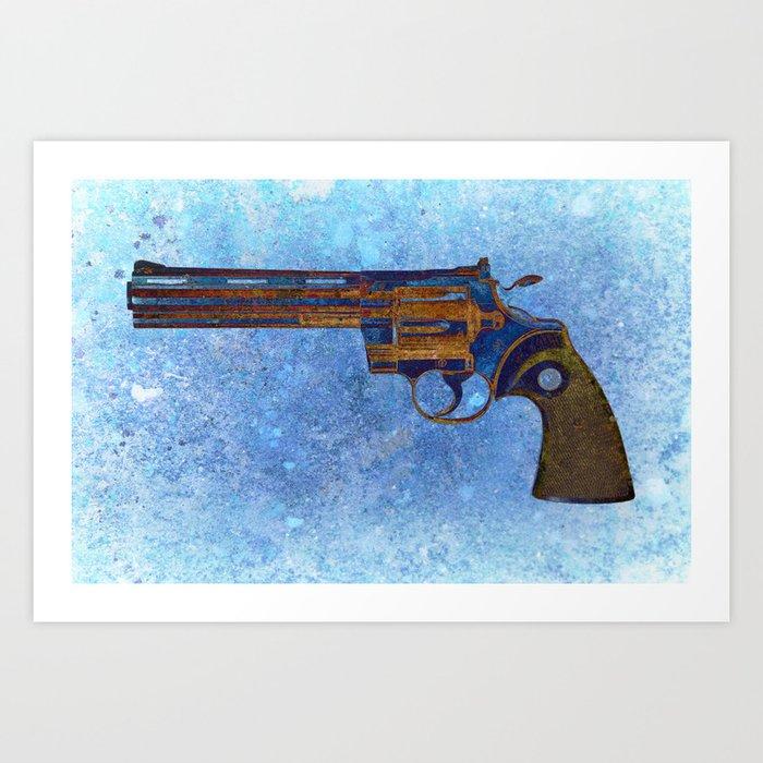 Colt Python 357 Magnum on Blue Back Ground Art Print