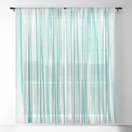 Mint watercolor stripes pattern Sheer Curtain